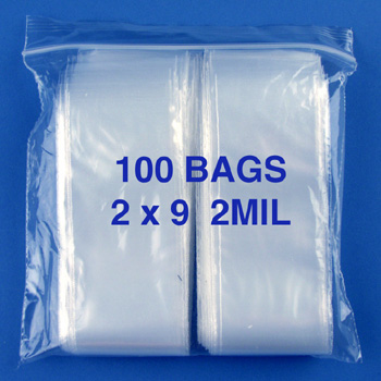 2x9 2mil clear zipper bags, pack of 100