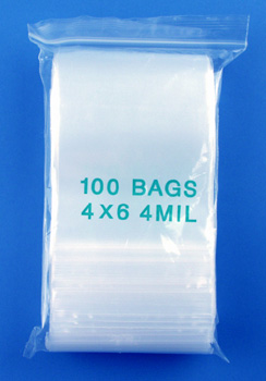 4x6 4mil clear zipper bags, pack of 100