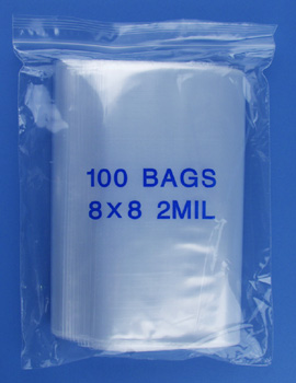 8x8 2mil clear zipper bags, pack of 100