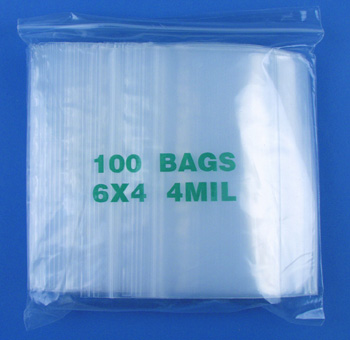6x4 4mil clear zipper bags, pack of 100