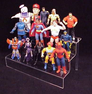 Clear Action Figure / Toy 3-Stair Deluxe Display Shelf<br>for Large-Sized Action Figures and Toys