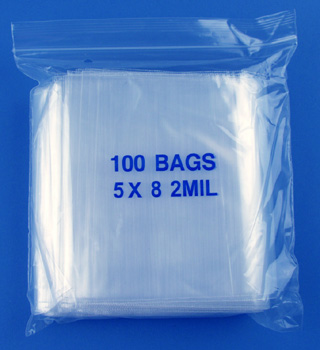 5x8 2mil clear zipper bags, pack of 100