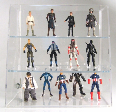 Acrylic Locking Display Cases <br>With Slanted Front & 2 Shelves