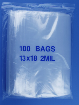 13x18 2mil clear zipper bags, pack of 100