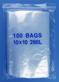10x10 2mil clear zipper bags, pack of 100