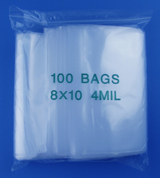 8x10 4mil clear zipper bags, pack of 100