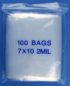 7x10 2mil clear zipper bags, pack of 100