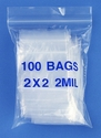2x2 2mil clear zipper bags, pack of 100