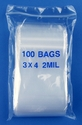 3x4 2mil clear zipper bags, pack of 100