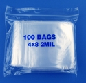 4x8 2mil clear zipper bags, pack of 100