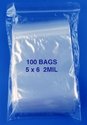 5x6 2mil clear zipper bags, pack of 100