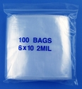 6x10 2mil clear zipper bags, pack of 100