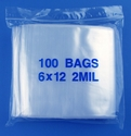 6x12 2mil clear zipper bags, pack of 100