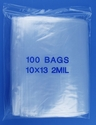 10x13 2mil clear zipper bags, pack of 100