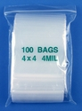 4x4 4mil clear zipper bags, pack of 100