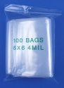 6x6 4mil clear zipper bags, pack of 100