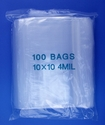 10x10 4mil clear zipper bags, pack of 100