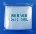 10x12 4mil clear zipper bags, pack of 100