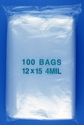12x15 4mil clear zipper bags, pack of 100