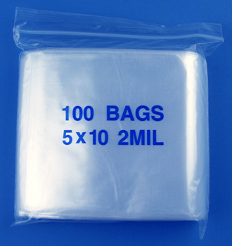 5x10 2mil clear zipper bags, pack of 100