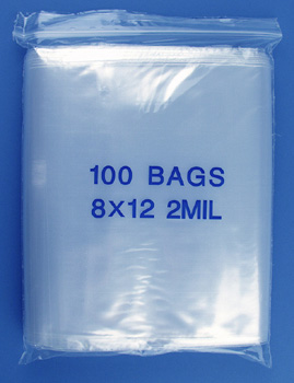 8x12 2mil clear zipper bags, pack of 100