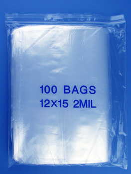 12x15 2mil clear zipper bags, pack of 100