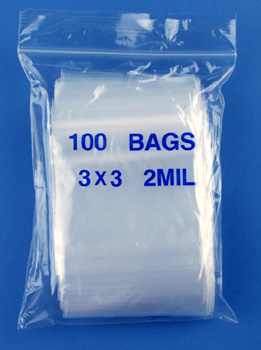 3x3 2mil clear zipper bags, pack of 100