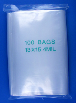 13x15 4mil clear zipper bags, pack of 100