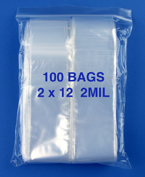 2x12 2mil clear zipper bags, pack of 100
