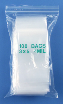 3x5 4mil clear zipper bags, pack of 100
