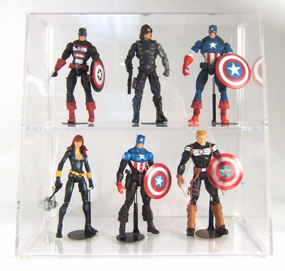 Acrylic Locking Display Cases <br>With Slanted Front & Straight Shelves