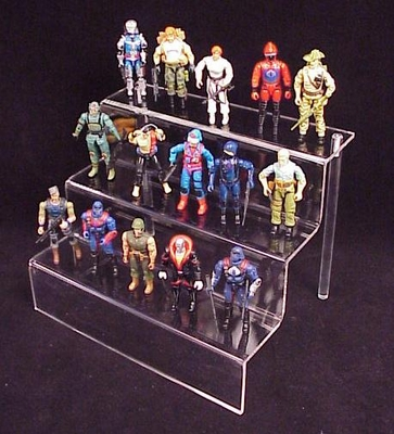 Clear Action Figure / Toy 3-Stair Deluxe Display Shelf<br>For Medium-Sized Action Figures and Toys