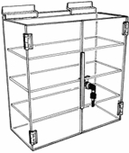 Slatwall Acrylic Triple Shelf Wide Case