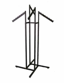 Black 4-Way Clothing Rack w/ Slant Flag Arms