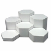 White Leatherette Hexagonal Jewelry Display Set