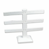 White Leatherette 3 Bar Earring Jewelry Display