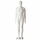 Male Mannequin With Sculpted Head With Straight Legs and Arms