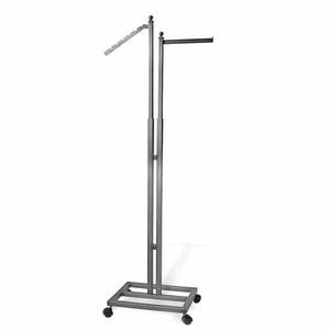 Aaron Contemporary Raw Steel 2 Way Garment Rack with Base