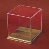 Square Acrylic Display Case with Hardwood Base