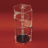Acrylic Hexagonal Security Case with Rotating Shelves
