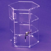 Acrylic Hexagonal 12in. Tall Display Cases - Rotating & Stationary