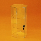 Acrylic Hexagonal 18in. Tall Display Cases - Rotating & Stationary