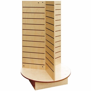 Real Wood 3-Panel Tall Slatwall Spinner with Raised Base