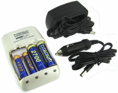 Titanium Innovations CH-TP 1-Hour 4-Bay Smart Ultra-Quick Battery Charger - NiMH, NiCd AA and AAAs - AC 100-240V + DC Adapters