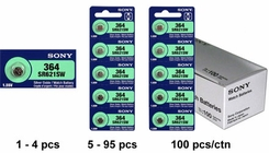 Sony SR621SW 364 23mAh 1.55V Silver Oxide Watch Battery - 1 Piece Tear Strip, Sold Individually