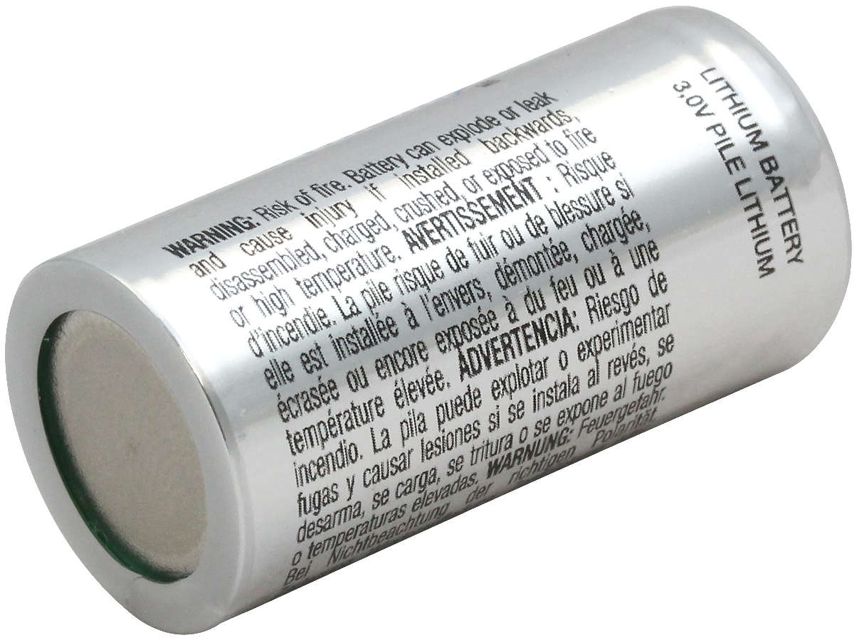 Energizer CR123A battery left side angle