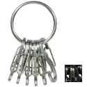 Nite Ize KeyRing Steel - Keychain Ring with 6 x Stainless Steel #0.5 S-Biner Carabiner Clips - Silver