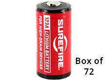 SureFire SF123A (72PK) CR123A 1550mAh 3V Lithium Primary (LiMNO2) Button Top Batteries - Box of 72