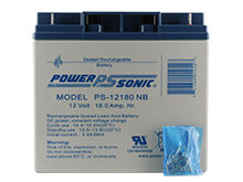 Power-Sonic AGM General Purpose PS-12180 18Ah 12V Rechargeable Sealed Lead Acid (SLA) Battery - NB Terminal