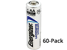 Energizer Ultimate L91 (60PK) AA 3000mAh 1.5V High Energy 5A Lithium (LiFeS2) Button Top Batteries - Box of 60